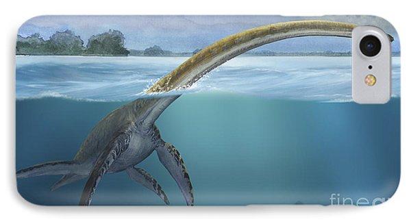 A Elasmosaurus Platyurus Swims Freely Phone Case by Sergey Krasovskiy