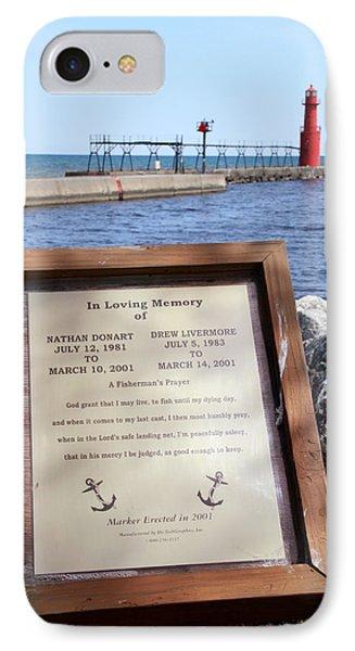 A Fisherman's Prayer At Algoma Lighthouse Phone Case by Mark J Seefeldt