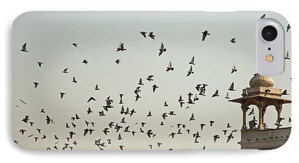 A Flock Of Pigeons Crowding One Of The Structures On Top Of The Red Fort IPhone Case by Ashish Agarwal