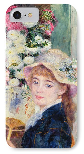 A French Girl With A Fan Phone Case by Pierre Auguste Renoir