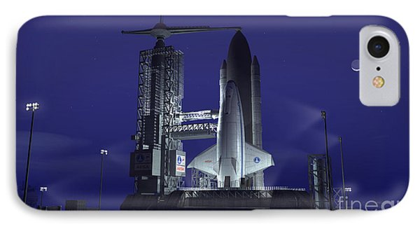 A Futuristic Space Shuttle Awaits Phone Case by Walter Myers