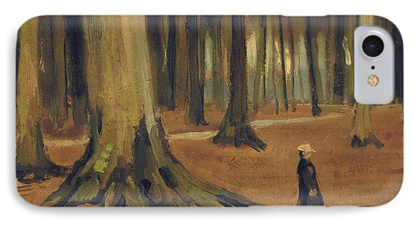 A Girl In A Wood Phone Case by Vincent van Gogh