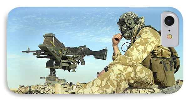 A Gunner Sits Atop A British Army Wmik Phone Case by Andrew Chittock