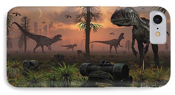 A Herd Of Allosaurus Dinosaur Cause Phone Case by Mark Stevenson