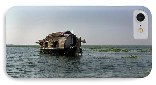 A Houseboat Moving Placidly Through A Coastal Lagoon In Alleppey IPhone Case by Ashish Agarwal