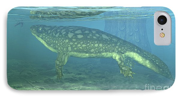 A Late Devonian Period Ichthyostega IPhone Case by Walter Myers