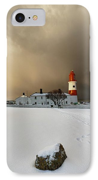 A Lighthouse And Building In Winter Phone Case by John Short