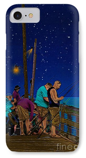 A Little Night Fishing At The Rodanthe Pier IPhone Case by Anne Kitzman
