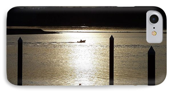 IPhone Case featuring the photograph A Lone Boat At Sunset by Chalet Roome-Rigdon