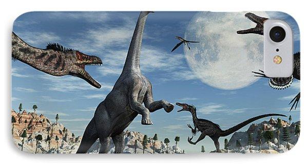 A Lone Camarasaurus Dinosaur Phone Case by Mark Stevenson