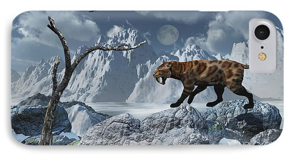 A Lone Sabre-toothed Tiger In A Cold Phone Case by Mark Stevenson