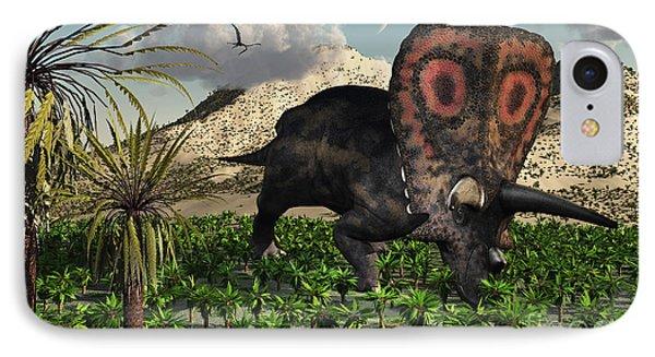 A Lone Torosaurus Dinosaur Feeding Phone Case by Mark Stevenson