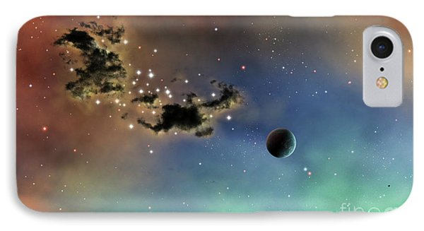 A Lonely Planet Is Lit By Two Stars Phone Case by Brian Christensen