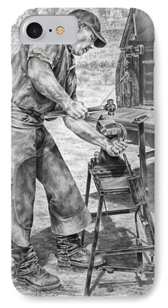 A Man And His Trade - Farrier Art Print IPhone Case by Kelli Swan