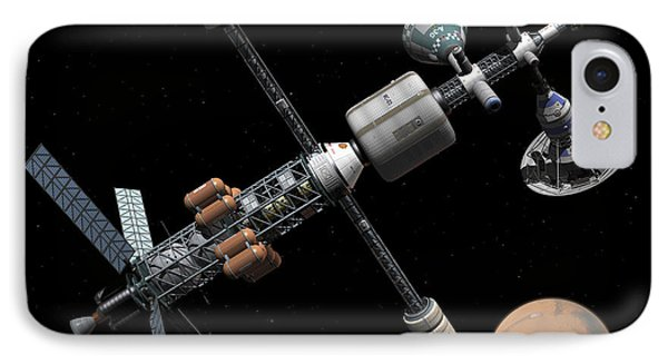 A Manned Mars Cycler Space Station Phone Case by Walter Myers