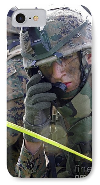 A Marine Communicates Over The Radio Phone Case by Stocktrek Images