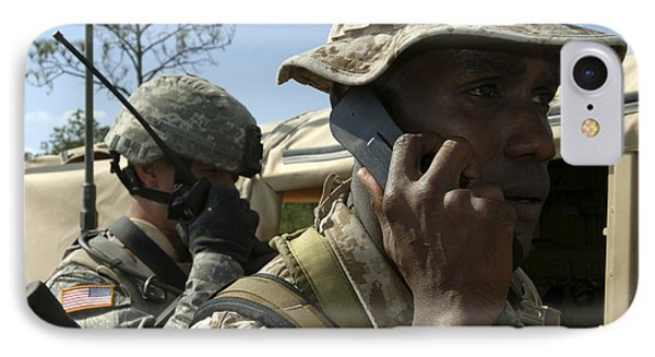A Marine Communicates With Aircraft Phone Case by Stocktrek Images