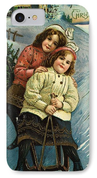 A Merry Christmas Postcard With Sledding Girls Phone Case by American School