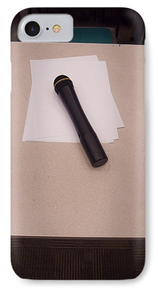 A Microphone On The Lectern Of A Presentation Room IPhone Case by Ashish Agarwal