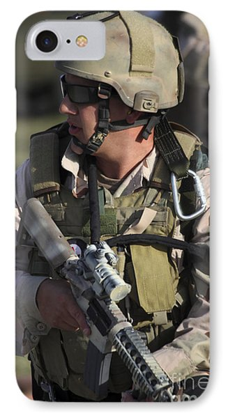 A Military Reserve Navy Seal Kneels Phone Case by Michael Wood