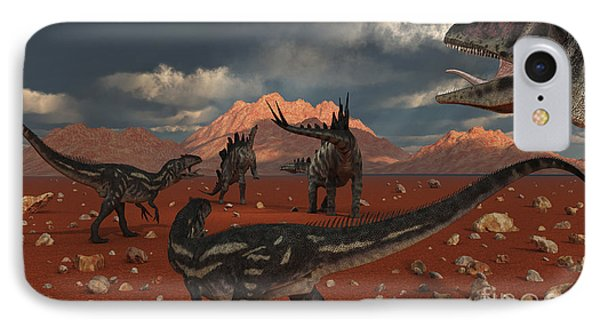 A Pack Of Allosaurus Dinosaurs Track Phone Case by Mark Stevenson