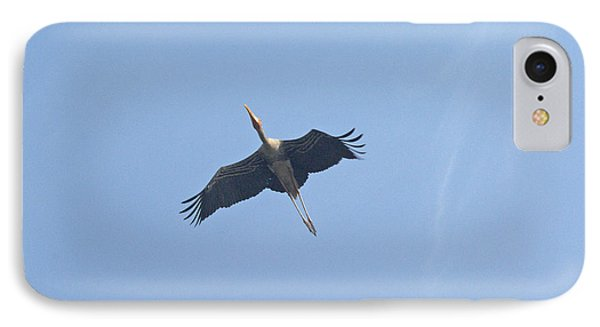 A Painted Stork Flying High In The Sky Phone Case by Ashish Agarwal