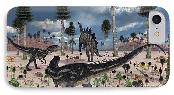 A Pair Of Allosaurus Dinosaurs Confront Phone Case by Mark Stevenson