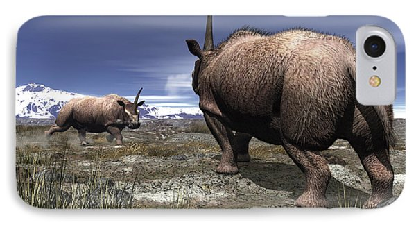 A Pair Of Male Elasmotherium Confront Phone Case by Walter Myers