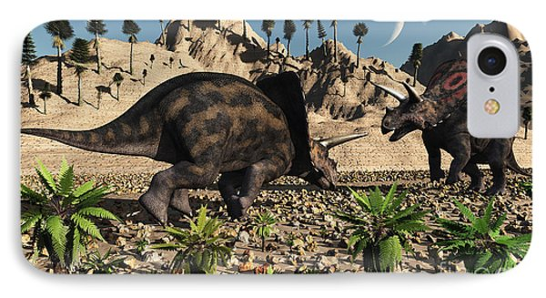 A Pair Of Torosaurus Dinosaurs Fight Phone Case by Mark Stevenson