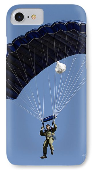 A Paratrooper Descends Through The Sky Phone Case by Stocktrek Images