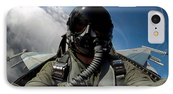 A Pilot In The Cockpit Of An F-16 Phone Case by Stocktrek Images