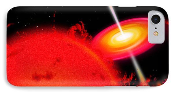 A Red Giant Star Orbiting A Black Hole IPhone Case by Ron Miller