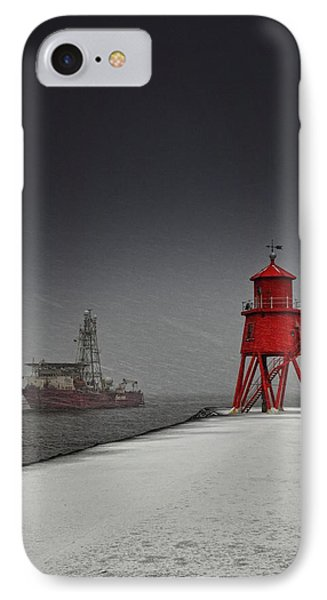 A Red Lighthouse Along The Coast In Phone Case by John Short