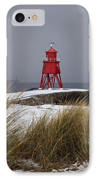 A Red Lighthouse Along The Coast South Phone Case by John Short