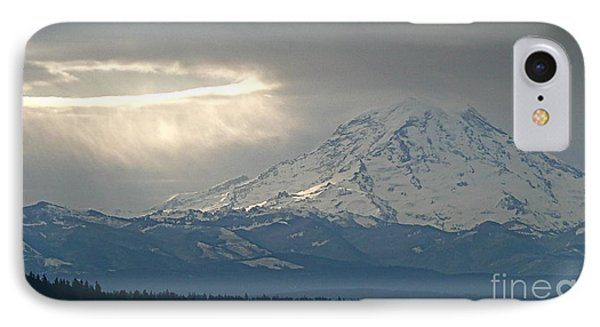 A Ring Of Bright Light Beside Mount Rainier Phone Case by Sean Griffin