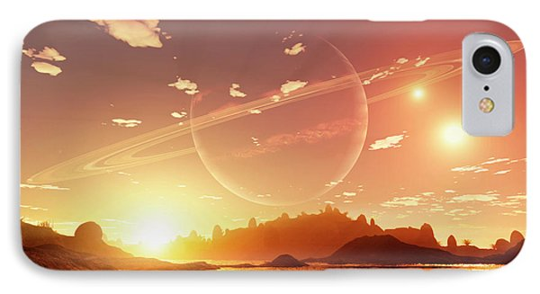 A Scene On A Distant Moon Orbiting Phone Case by Brian Christensen