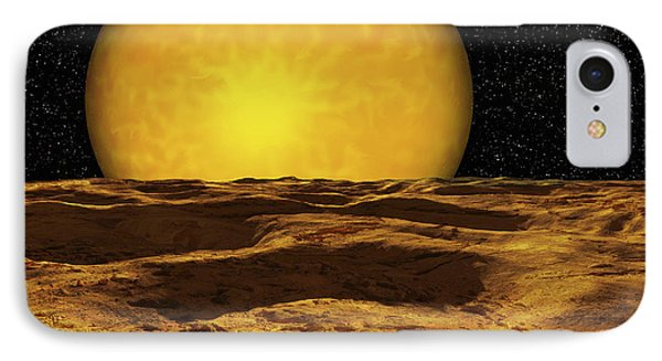 A Scene On A Moon Of Upsilon Andromeda Phone Case by Ron Miller