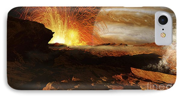 A Scene On Jupiters Moon, Io, The Most Phone Case by Ron Miller