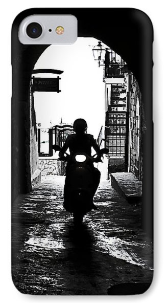 a scooter rider in the back light in a narrow street in Italy Phone Case by Joana Kruse