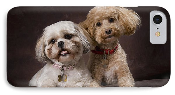 A Shihtzu And A Poodle On A Brown Phone Case by Corey Hochachka