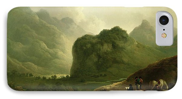 A Sketching Party In The Pass At Borrowdale IPhone Case by Julius Caesar Ibbetson