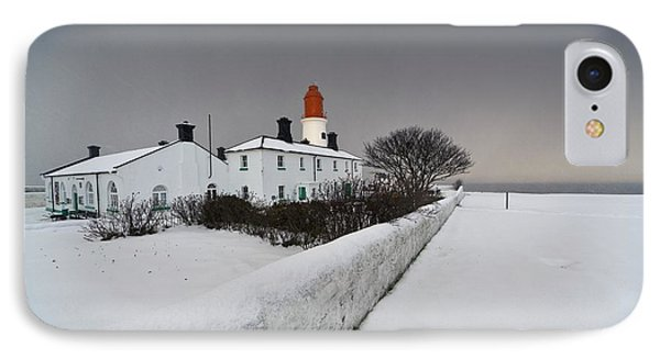 A Snow Covered Fence With A Lighthouse Phone Case by John Short