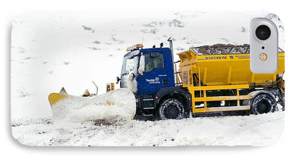 A Snow Plough Clearing A Road Phone Case by Duncan Shaw