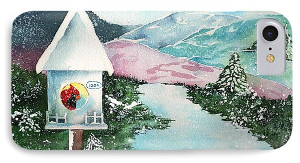 A Snowy Cardinal Day - Christmas Card IPhone Case by Sharon Mick