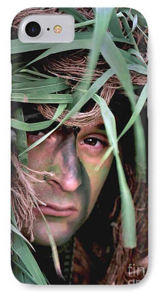 A Soldier Camouflaged In His Ghillie Phone Case by Stocktrek Images