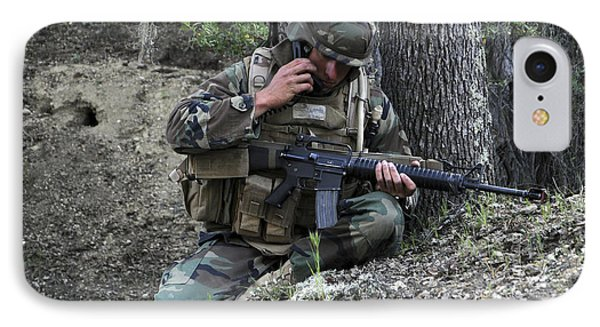 A Soldier Communicates His Position Phone Case by Stocktrek Images