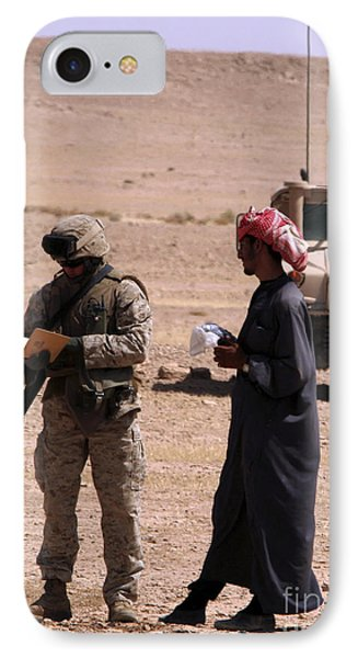 A Soldier Communicates With A Local Phone Case by Stocktrek Images