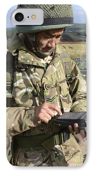 A Soldier Inputs The Firing Data Phone Case by Andrew Chittock