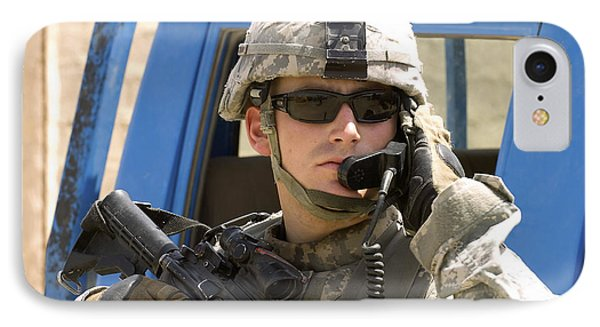 A Soldier Talking Via Radio Phone Case by Stocktrek Images
