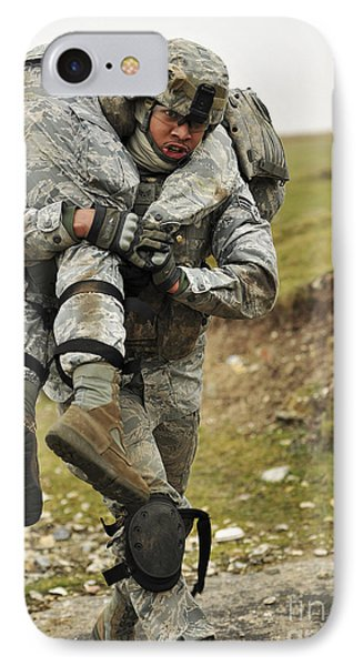 A Soldier Transports A Fellow Wounded Phone Case by Stocktrek Images
